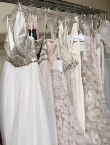 Sample dresses waiting to be placed in inventory!