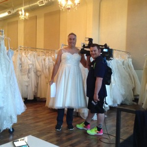 Kohr Harlan with KOIN sporting a beautiful tea length wedding dress for our early morning interview!